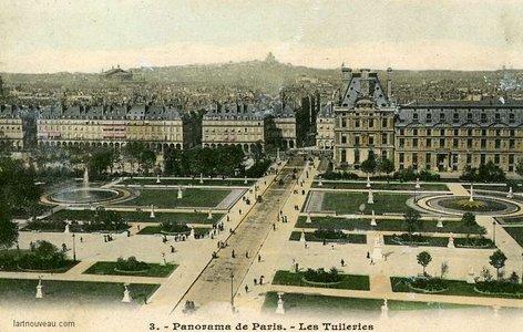 Le jardin des Tuileries en 1900 et plans