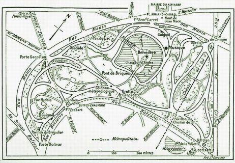 Carte Buttes Chaumont.Le Parc Des Buttes Chaumont